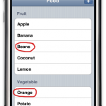 Screenshot of Food sample app in wrong order.
